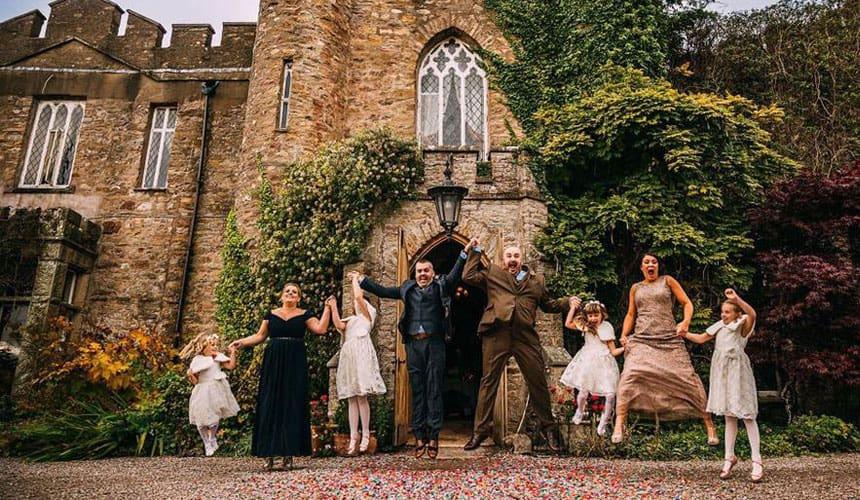 Wedding Celebration outside Augill Castle