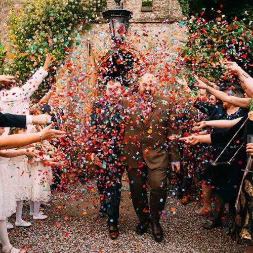 Confetti Wedding Celebration outside Augill Castle
